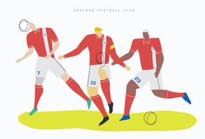 Illustrazione piana di vettore del carattere di calcio della coppa del Mondo dell'Inghilterra