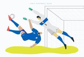 Illustrazione piana di vettore del carattere di calcio della coppa del Mondo dell'Italia