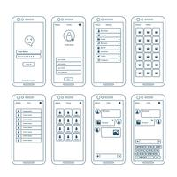 App Wireframe Elements vettore