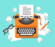 Posto di lavoro con illustrazione di macchina da scrivere