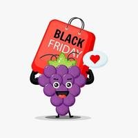 simpatica mascotte dell'uva che porta una borsa del venerdì nero vettore