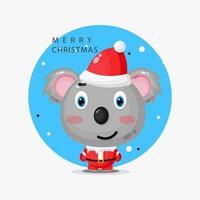 simpatico koala che indossa un'uniforme da Babbo Natale vettore