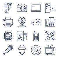 confezione di elettrodomestici e icone piatte elettroniche vettore