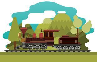 Illustrazione di locomotiva piatta