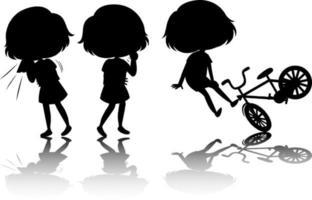 set di silhouette di bambini con riflesso vettore