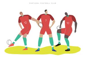 Illustrazione piana di vettore del carattere di calcio della coppa del Mondo del Portogallo