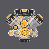 Motore per auto piatto dettagliata vettore