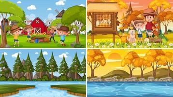 quattro diverse scene con il personaggio dei cartoni animati dei bambini vettore