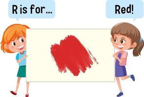 personaggio dei cartoni animati di due bambini che tengono la bandiera del vocabolario di colore vettore