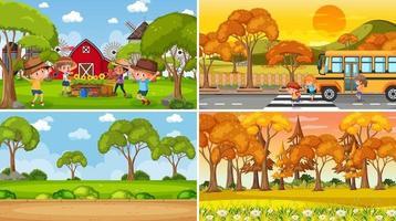 diverse scene di sfondo della natura nel set vettore