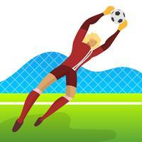 Il portiere minimalista moderno del calciatore dell'Islanda per la coppa del Mondo 2018 prende una palla con l'illustrazione di vettore del fondo di pendenza