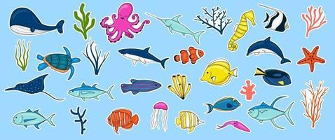 collezione di animali marini disegnati a mano colorati vettore