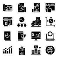 pacchetto di icone solide statistiche finanziarie vettore