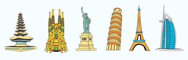 collezione di monumenti del mondo disegnati a mano colorati vettore