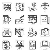 pacchetto di icone lineare infografica finanziaria vettore