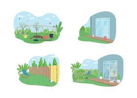 banner web vettoriale di pulizie di primavera all'aperto 2d, set di poster