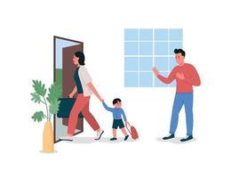 donna con bambino lascia i caratteri dettagliati di vettore di colore piatto del marito