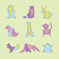 Set di animali origami vettore
