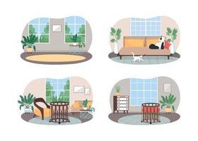 spazio domestico vivente per banner web vettoriale famiglia 2d, set di poster