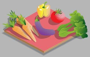 illustrazione di verdure isometriche vettore