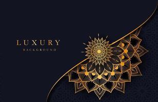 sfondo di lusso con ornamento mandala arabesco islamico oro su superficie scura vettore