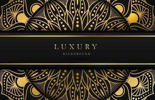 sfondo di lusso con luccicante ornamento arabo islamico oro su superficie scura vettore
