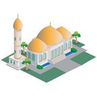illustrazione isometrica della moschea vettore