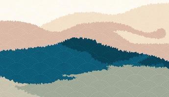 sfondo paesaggio con paesaggi di montagna decorati con motivo a onde giapponesi. illustrazione vettoriale del tema di viaggio e avventura con paesaggio natura astratta
