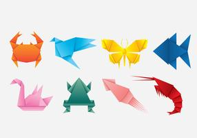 Collezione di icone di animali origami vettore