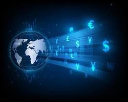 icona di cambio valuta globale trasferire denaro, fondo astratto del mercato azionario vettore