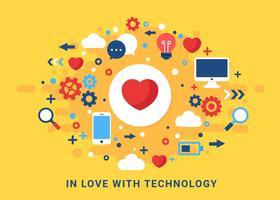 Vettore di concetto di tecnologia di amore