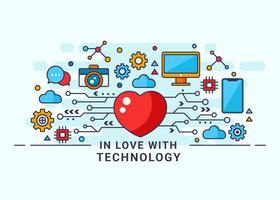Moderno nell'amore con l'illustrazione di vettore di tecnologia