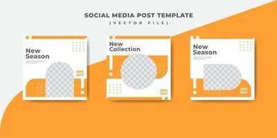 modello di banner post social media moda arancione vettore