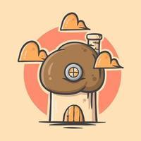 casa di cartone animato carino fungo marrone con illustrazione vettoriale di colore pastello