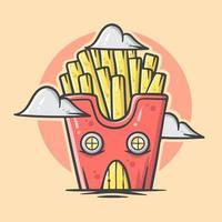 casa di cartone animato carino patatine fritte con illustrazione vettoriale di colore pastello