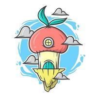 carino rosso fungo e nuvole casa dei cartoni animati con illustrazione vettoriale colori pastello