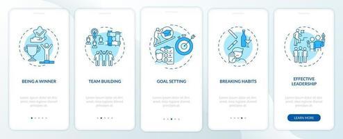 tipi di contenuti motivazionali onboarding schermata della pagina dell'app mobile con concetti vettore