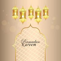 biglietto di auguri festival islamico ramadan kareem e sfondo con lanterna dorata vettore