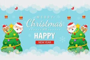 buon natale e felice anno nuovo sfondo in stile cartone animato vettore