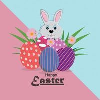 concetto di design piatto di felice giorno di Pasqua vettore
