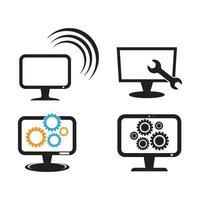 monitorare l'illustrazione delle immagini del logo del servizio del computer vettore