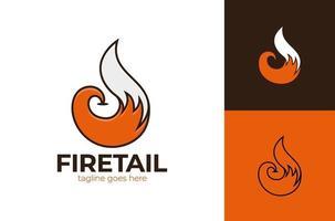 Illustrazione dell'icona dell'elemento di vettore di logo della coda di volpe. design del logo del fuoco di coda di volpe a forma di cerchio e pollice in alto come simbolo