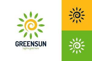 modello di vettore di progettazione di logo di eco foglia sole. vettore di progettazione del modello di logo di eco sole