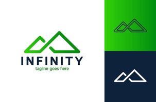 ispirazione creativa e semplice per il design del logo del flusso di montagna e del fiume infinito. vettore