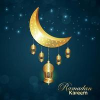 festival islamico di ramadan kareem con luna e lanterna dorate vettore