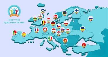 mappa isometrica dell'Europa con il calcio nazionale 2020 vettore