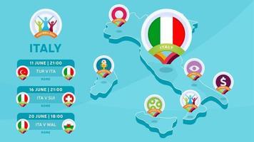 mappa isometrica italia calcio 2020 vettore
