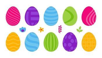 set di uova di Pasqua piatte vettore