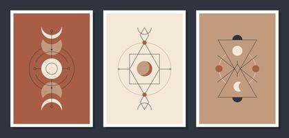 una serie di poster minimalisti con corpi celesti. poster in un moderno stile boho. la luna e le stelle. carte di illustrazione mistica vettoriale. vettore