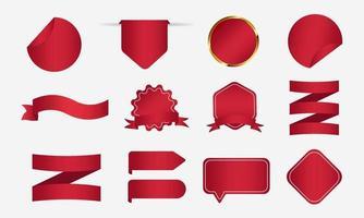 raccolta di adesivi cartellino rosso vettore